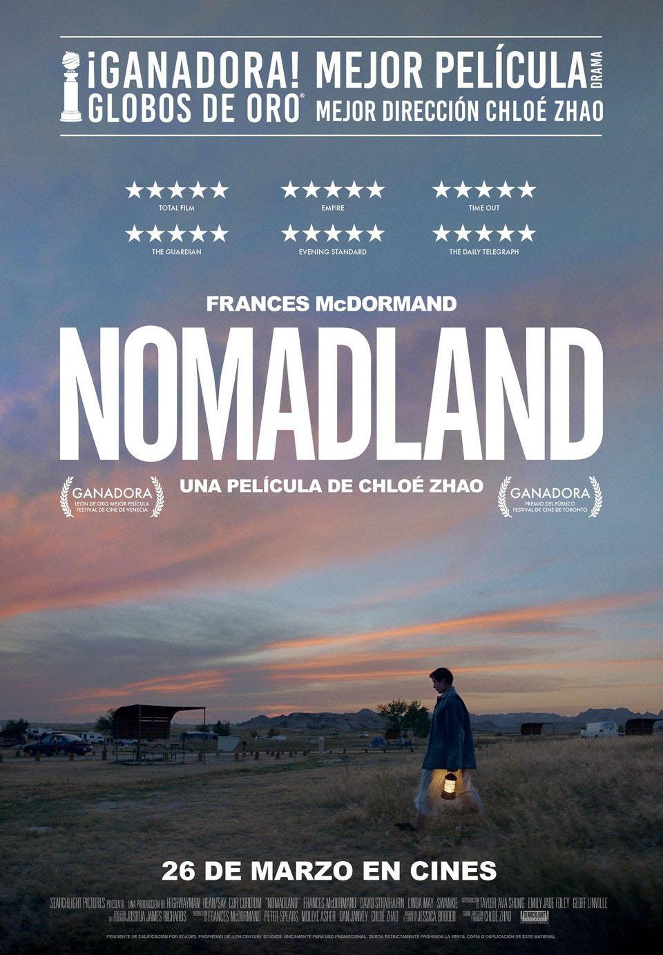 Cinema: NOMADLAND / 19-06-2021, a les 18 h, al Teatre Auditori de l'Hospitalet de l'Infant