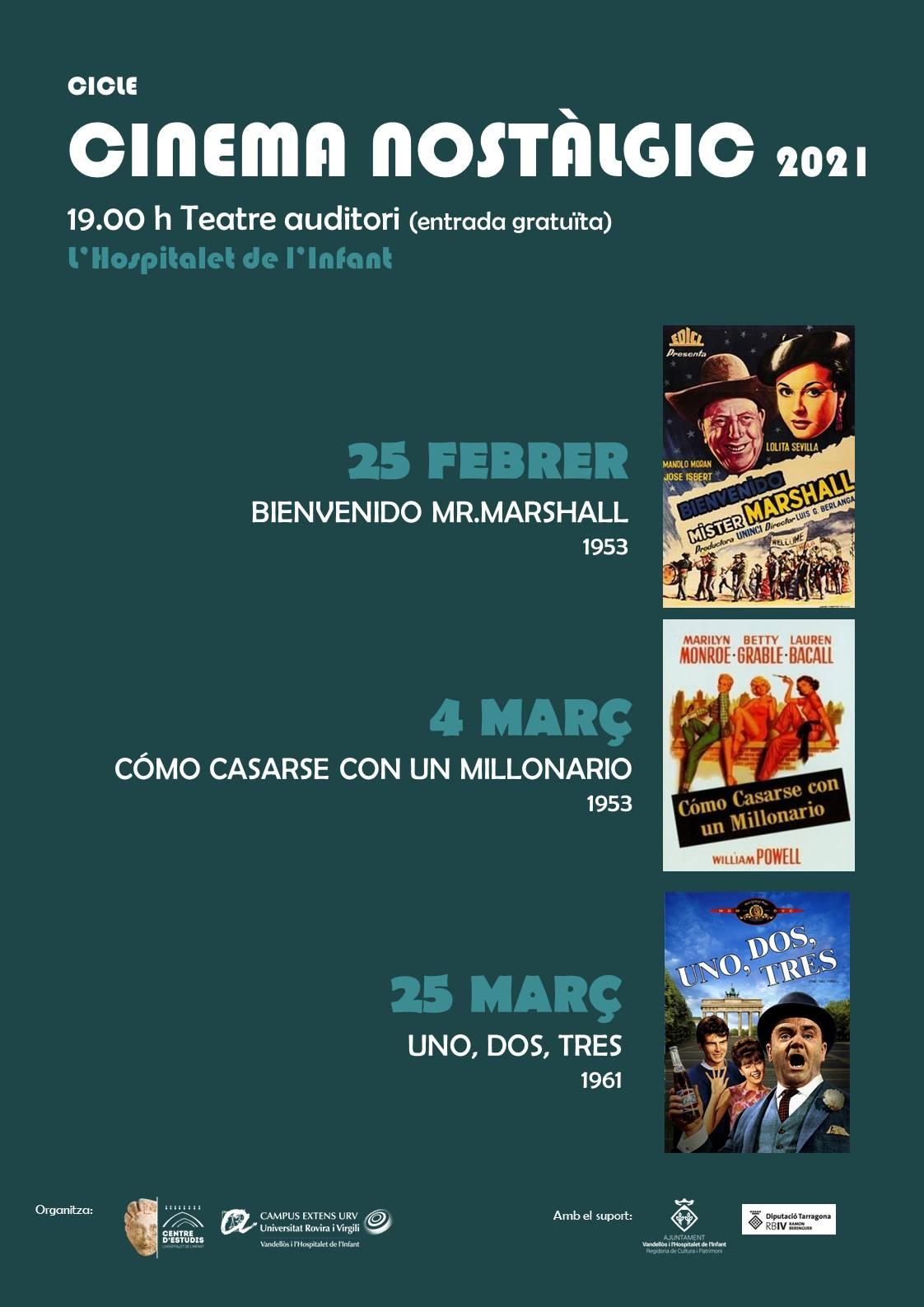Cinema nostàlgic: UN, DOS, TRES / 25-03-2021, a les 19.00 h