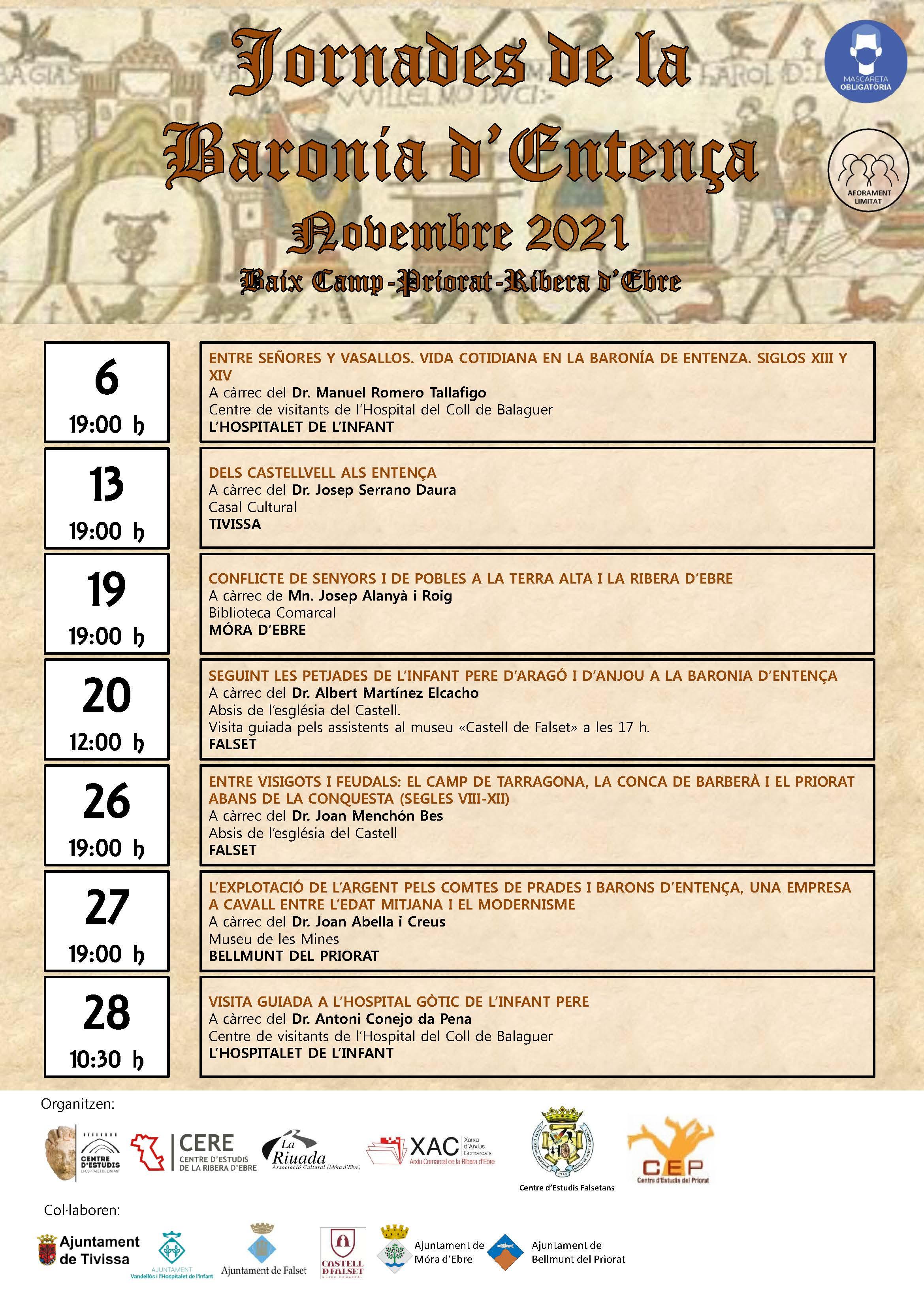 Conferència inagural de les Jorandes de la Baronia d'Entença / 06-11-2021, a les 19 h, a l'Hospitalet de l'Infant
