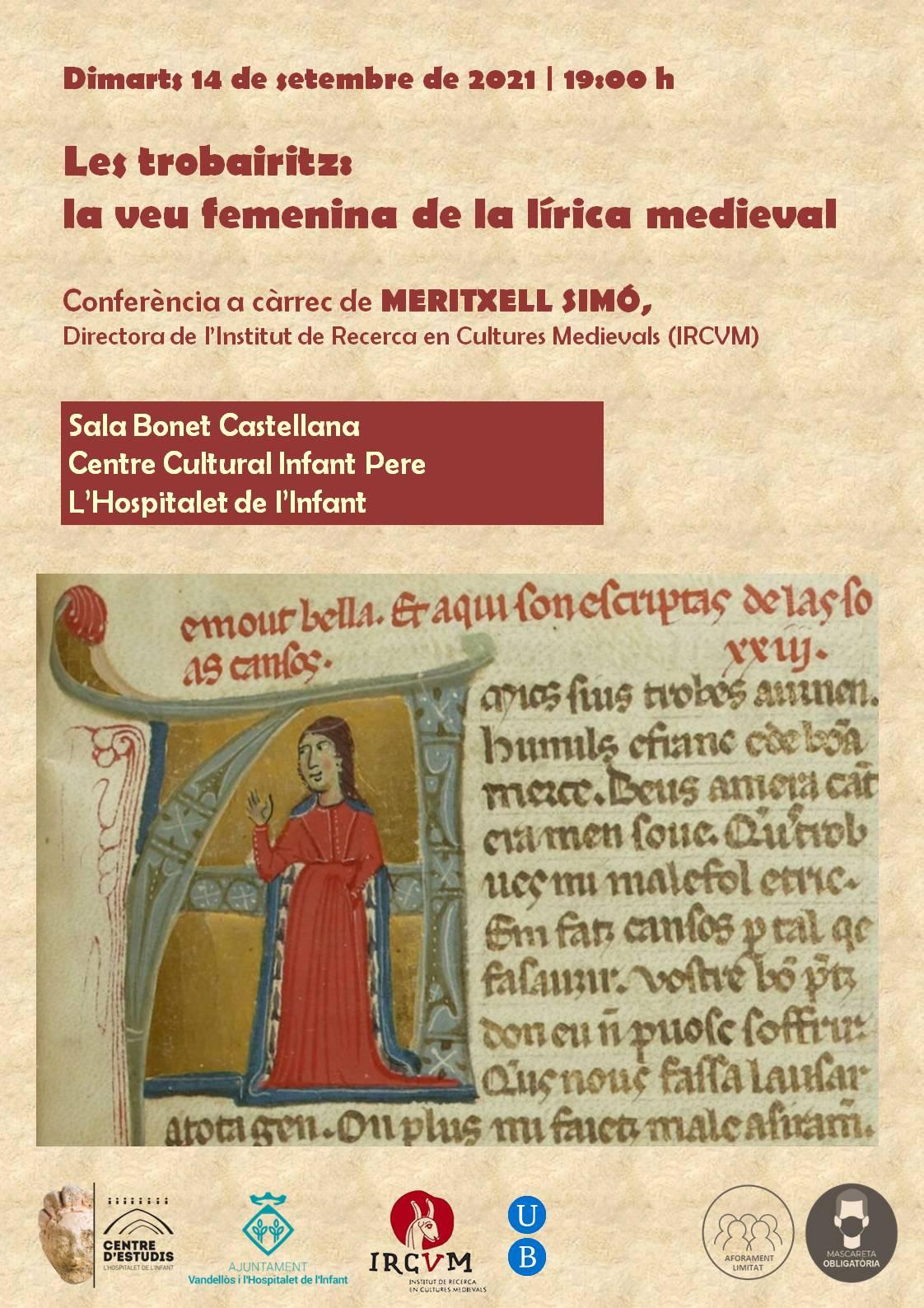 """Conferència """"Les trobairitz: la veu femenina de la lírica medieval"""" / 14/09/2021, a l'Hospitalet de l'Infant"""