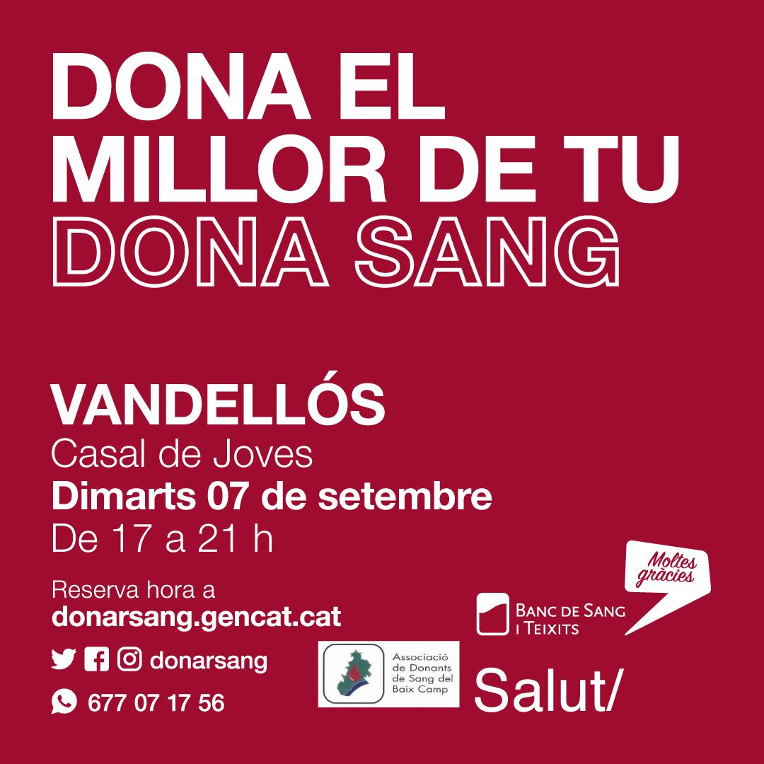 Donació de sang / 07-09-2021 , de les 17 a les 21 h, a Vandellòs