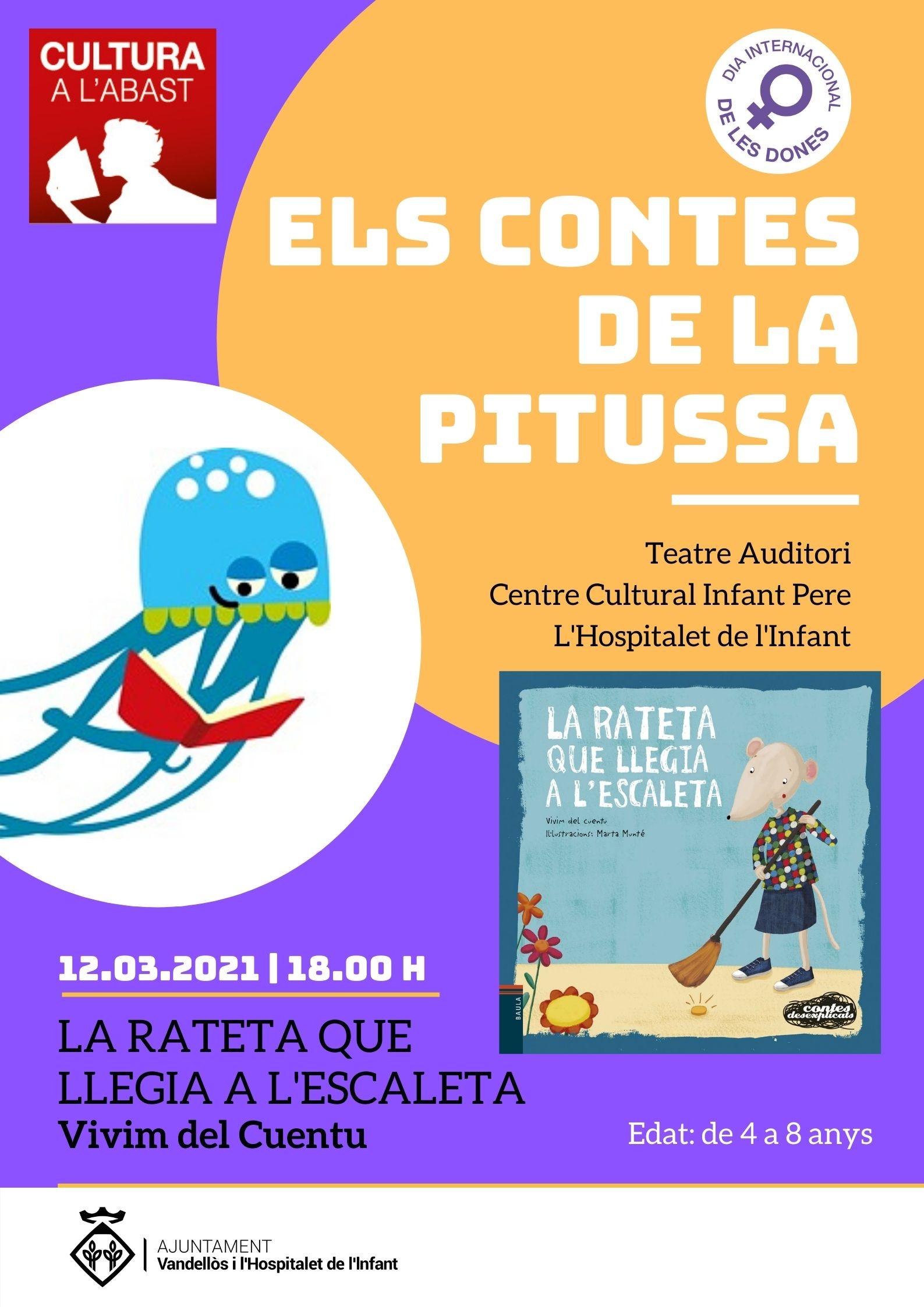 Els contes de la Pitussa: LA RATETA QUE LLEGIA A L'ESCALETA - 12/03/2021 - A les 18.00 h