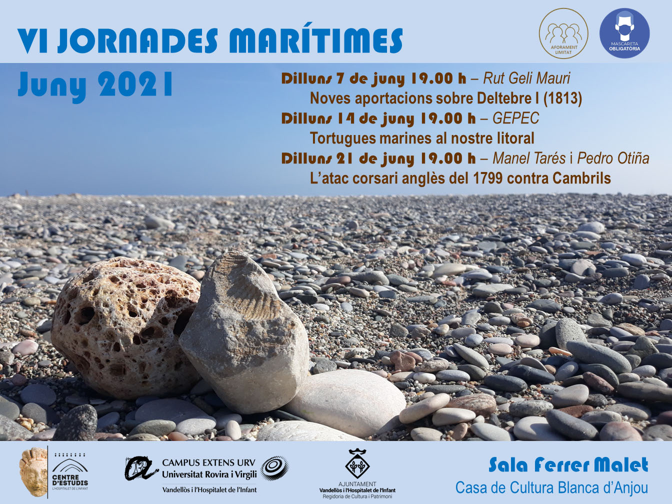 VI JORNADES MARÍTIMES / 14-06-2021, a les 19 h - Sala Ferrer Malet de la Casa de Cultura Blanca d'Anjou de l'Hospitalet de l'Infant