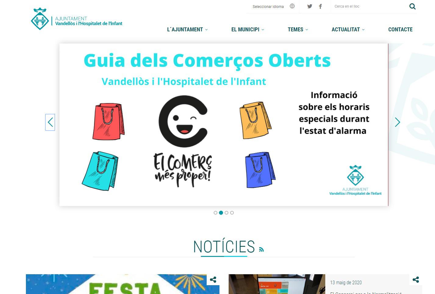 L'Ajuntament de Vandellòs i l'Hospitalet de l'Infant estrena nou portal web