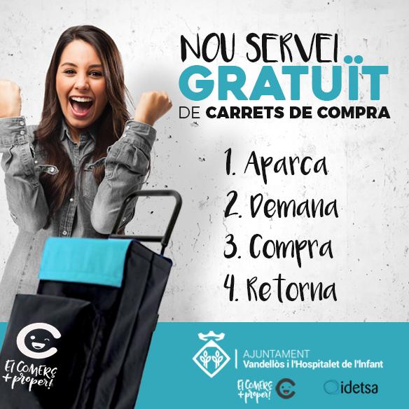 Nou servei gratuït de carrets de compra, per als usuaris del pàrquing municipal de l'Hospitalet de l'Infant