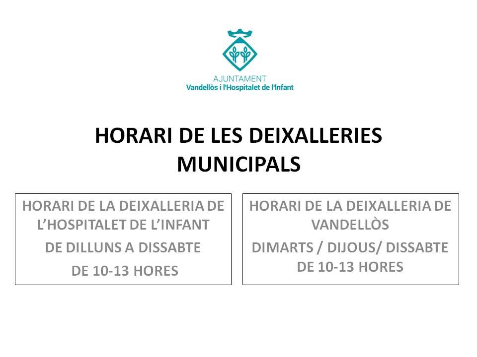 Horari de les deixalleries municipals